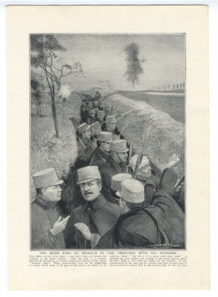 1914 WW1 PRINT King Albert of Belgium With Soldiers in the Trenches by ALICK RITCHIE